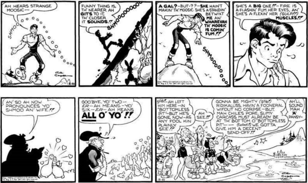 Motsvarande strippar i original, ursprungligen publicerade 23 augusti till 21 december 1948. ©KFS
