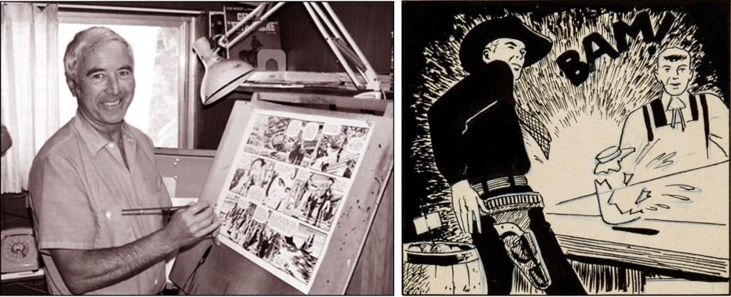 Dan Spiegle vid ritbordet, och original till en serieruta ut dagsstrippen med Hopalong Cassidy (c:a 1950). ©Mirror
