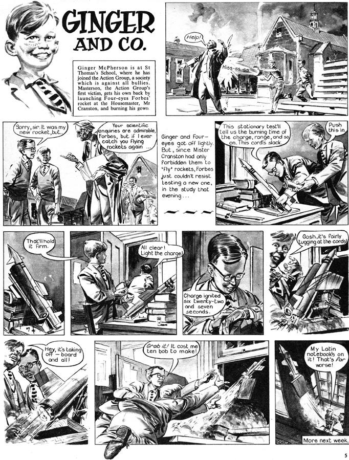 En seriesida med Ginger & Co från 22 oktober 1960. Serien ingick i Swift varje vecka (1960-62). ©Swift