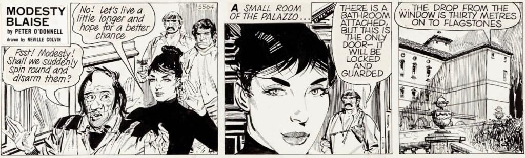 Original till en dagsstripp ur det 51:a äventyret med Modesty Blaise, Terroristerna (The Balloonatic, 1983). ©Evening Standard