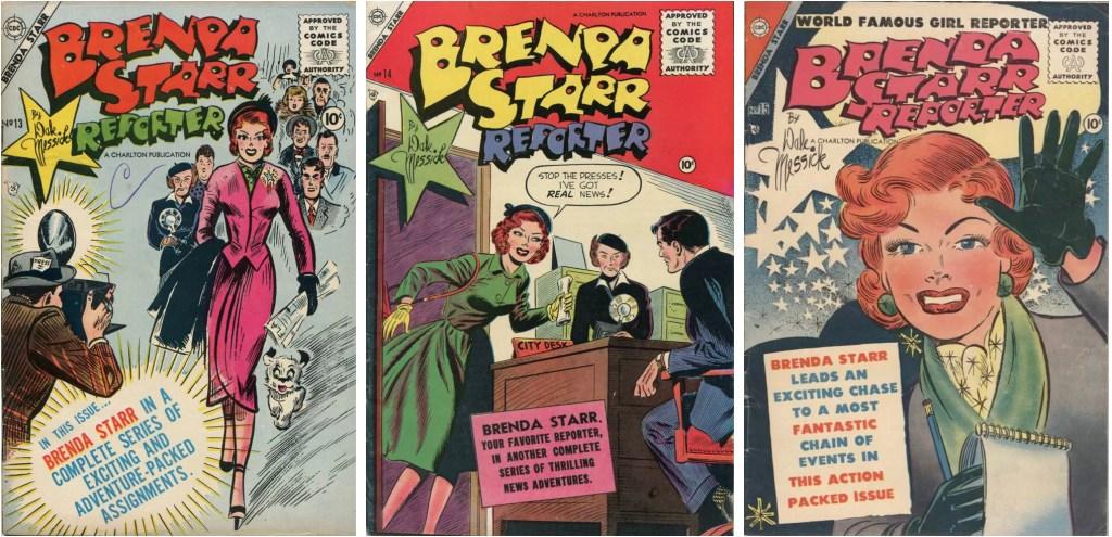 Tre nummer med Brenda Starr utgivna 1955. ©Charlton/CTNYNS