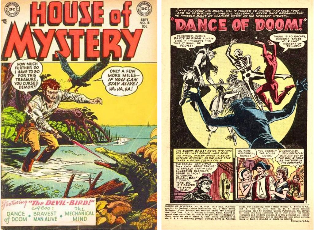 """Starr tecknade serien """"Dance of Doom"""" i House of Mystery #18 (september 1953). ©DC Comics"""