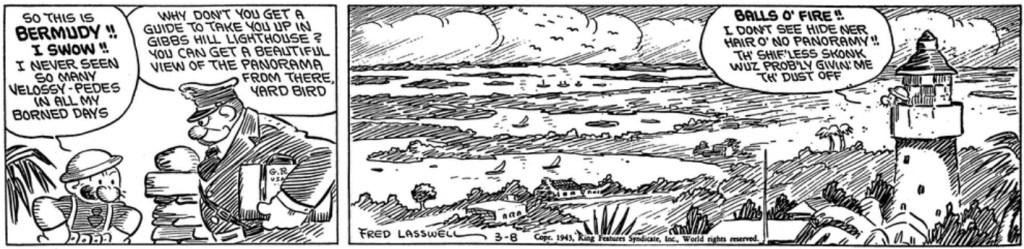 Första signerade dagsstrippen av Fred Lasswell, från 8 mars 1943. ©KFS