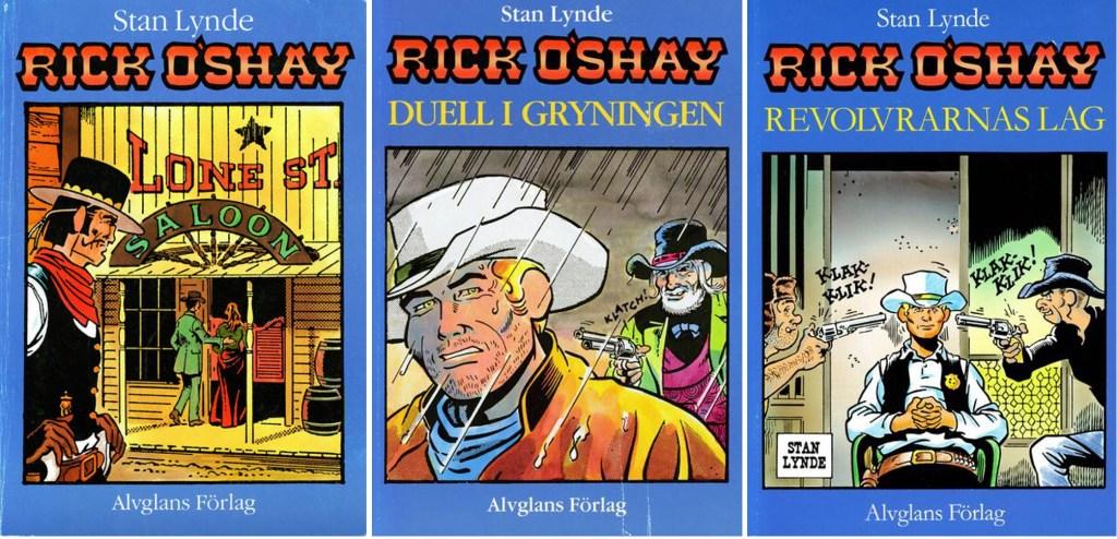 Omslag till Rick O'Shay från 1986, 1987 och 1990. ©Alvglans/CTS