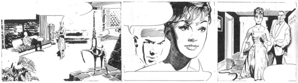 Dagsstripp nr 3 av Frank Hampton. Hampson fick inte teckna Modesty Blaise.