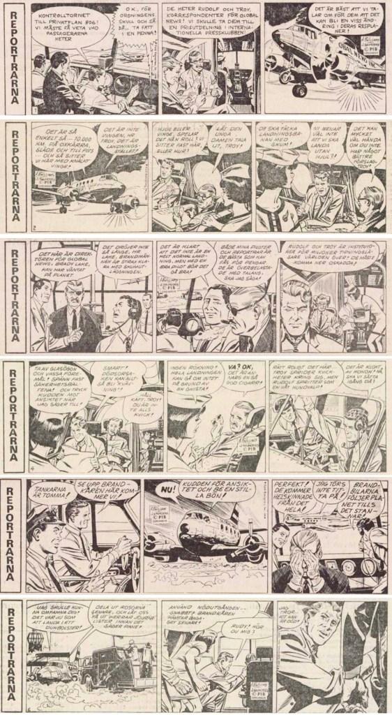 Första sex dagsstripparna ur Dagens Nyheter från 5-12 januari 1976. ©PIB