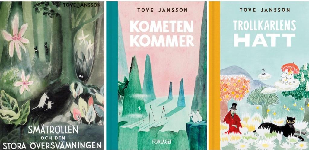 Omslag till de tre första romanerna.