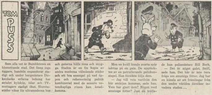 Dagsstripp nr 4819 (ursprungligen från februari 1963), ur DN 29 augusti 1963, inleder det 102:a äventyret med Tom Puss. ©STA