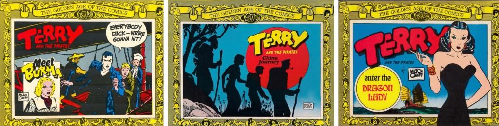 Omslag till tre av fem utgåvor från Nostalgia Press (1975-77).