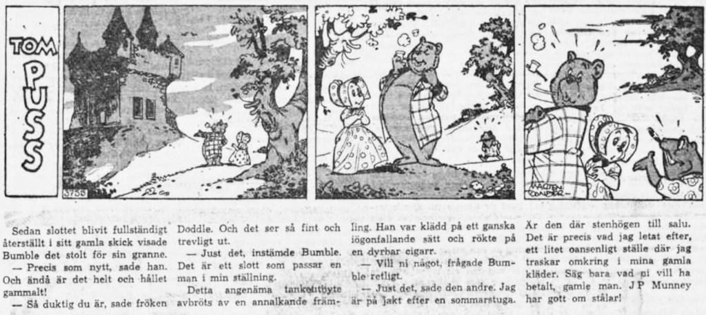 Dagsstripp nr 3755 (ursprungligen från 1959), ur DN 20 februari 1960, inleder det 85:e äventyret med Tom Puss. ©STA