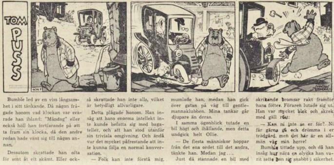 Dagsstripp nr 4047 (ursprungligen från 1960), ur DN 8 februari 1961, inleder det 90:e äventyret med Tom Puss. ©STA