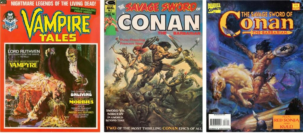 Omslag till Vampire Tales #1 (1973), The Savage Sword of Conan #1 (1974) och #233 (1995). Conan innehåller serieR i inlagan av Maroto,  den högra med Red Sonja. Det vänstra omslaget är av Maroto. ©Marvel