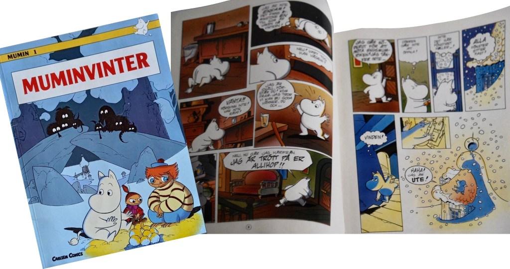 Omslag och ett uppslag ur ett seriealbum tecknat av Mårdøn Smet. ©Carlsen