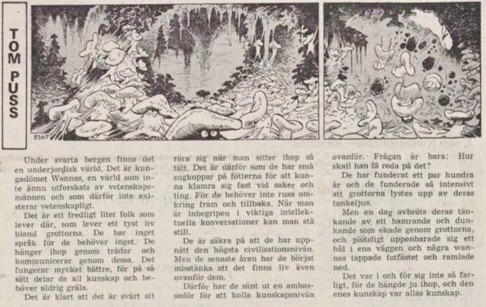 Dagsstripp nr 8367 (ursprungligen från 30 september 1975), ur DN 5 december 1975, inleder det 152:a äventyret med Tom Puss. ©STA
