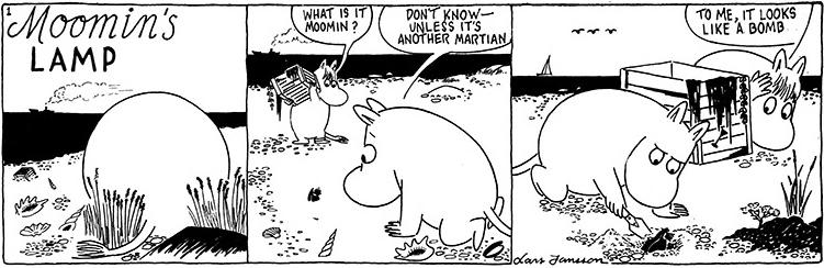 Första dagsstrippen ur episod #22 Mumins lampa (1960). ©Moomin Characters