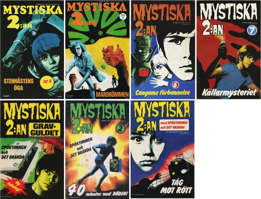 Omslag till Mystiska 2:an nr 4-7 (1972-73), och nr 1-3, 1973. ©Semic
