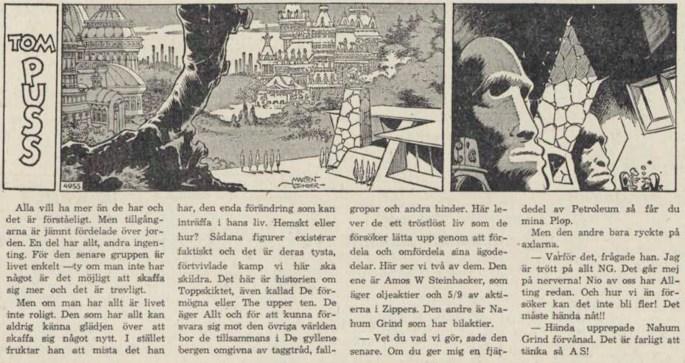 Dagsstripp nr 4955 (ursprungligen från 1963), ur DN 8 februari 1964, inleder det 104:e äventyret med Tom Puss. ©STA