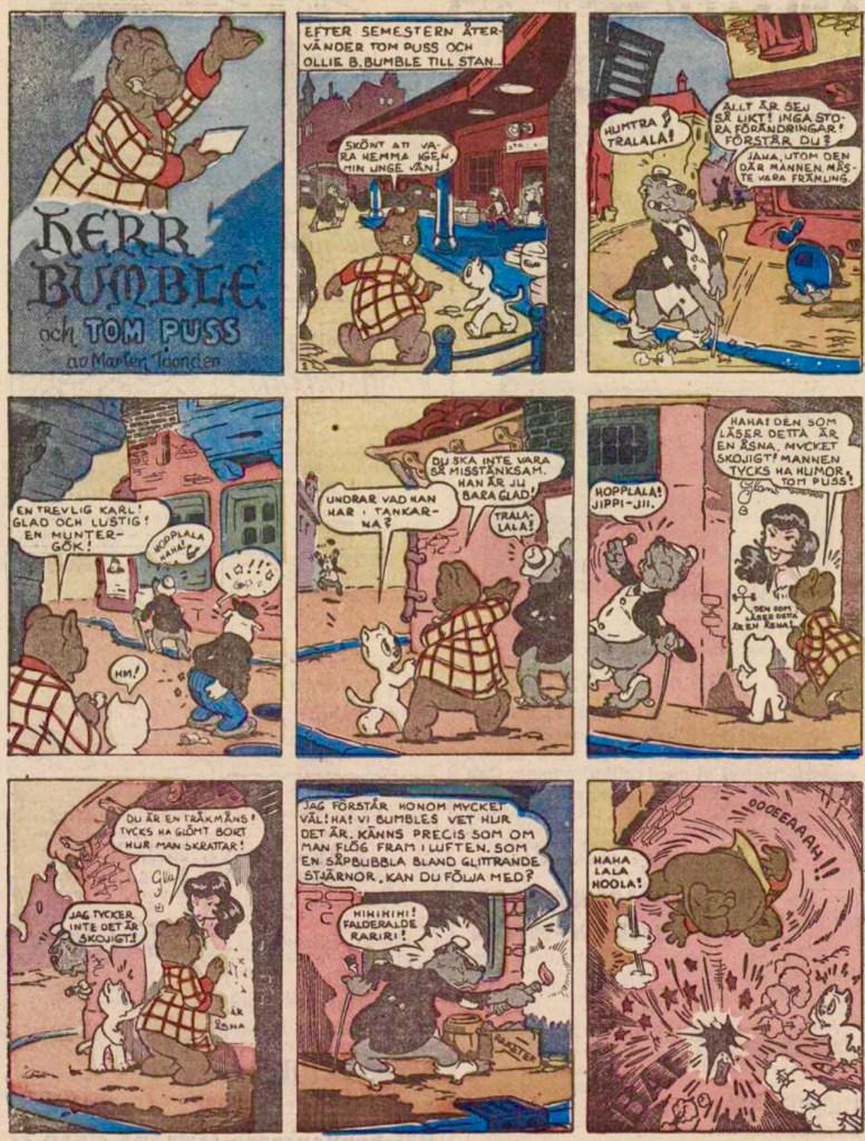 Första införandet av söndagsversionen Herr Bumble med Tom Puss, från 18 mars 1951. ©STA