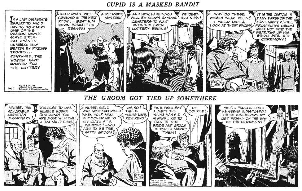 Ett par dagsstrippar i original från 11-12 januari 1937, varur ytterligare några serierutor användes i Comics. ©CTNYN