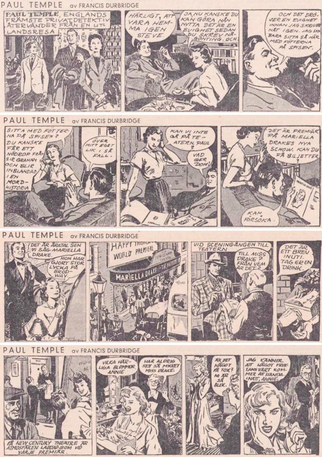 Inledningen av det första äventyret i Dagens Nyheter, från 24-27 januari 1951.