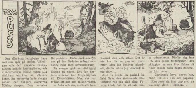Dagsstripp nr 4889 (ursprungligen från maj 1963), ur DN 20 november 1963, inleder det 103:e äventyret med Tom Puss. ©STA