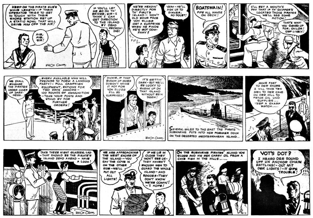 Sista dagsstripparna av Caniff, från 11 november till 2 december 1934. ©AP