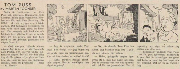 Dagsstripp nr 411 (ursprungligen från 1948), ur DN 30 mars 1949, inleder det 31:a äventyret. ©STA