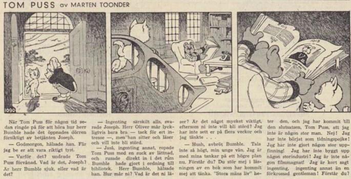Dagsstripp nr 1090 (ursprungligen från 1950), ur DN 4 april 1951, inleder det 41:a äventyret. ©STA