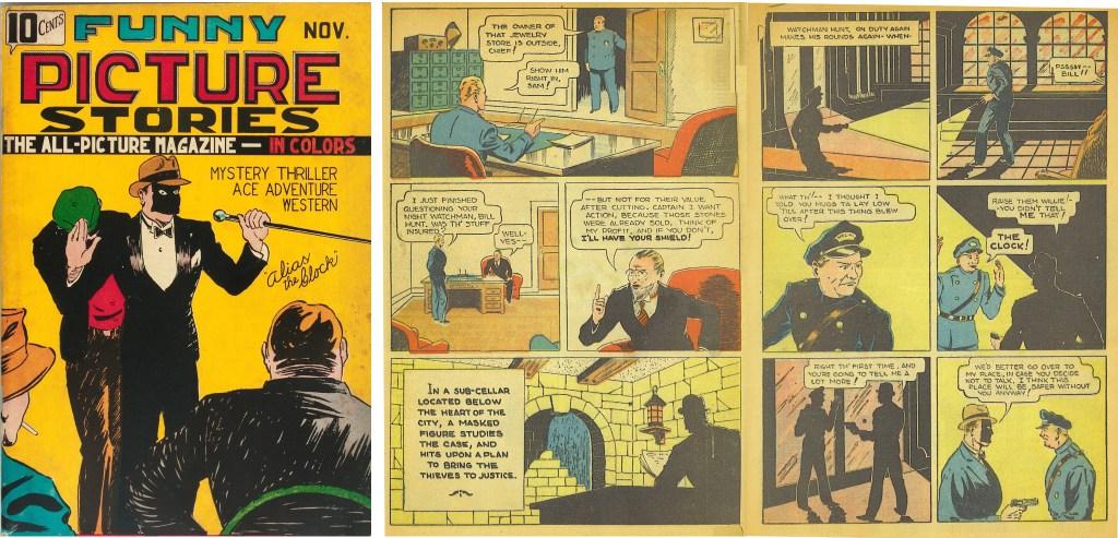 Omslag och ett uppslag med The Clock ur Funny Picture Stories #1 (1936). ©Comics Magazine Company