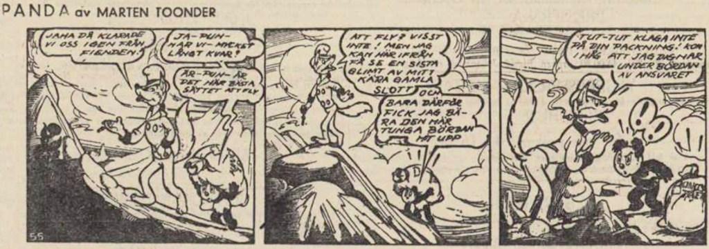 En dagsstripp med Panda och Goedbloed, som här hette George Goodfellow, ur DN 9 augusti 1951. ©STA