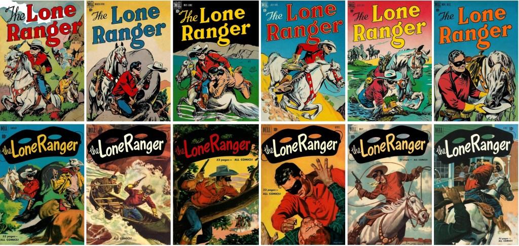 Omslag till The Lone Ranger #1-6 (1948) och #31-36 (1951). ©Dell