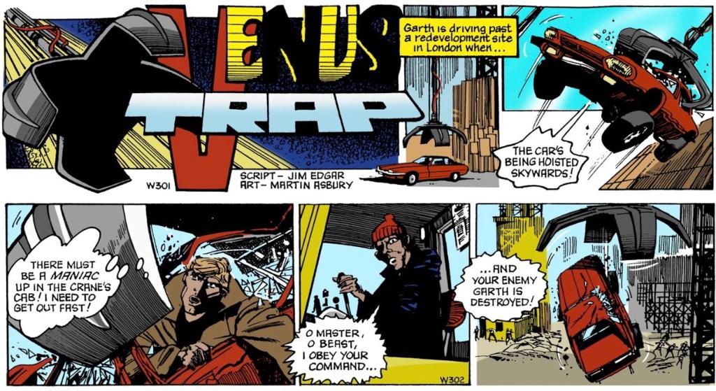 Inledande dagsstrippar ur den 129:e episoden med Garth, Venus Trap, av Jim Edgar (manus) och Martin Asbury (teckningar), stripparna W301-302 (16-17 december 1988). ©Daily Mirror