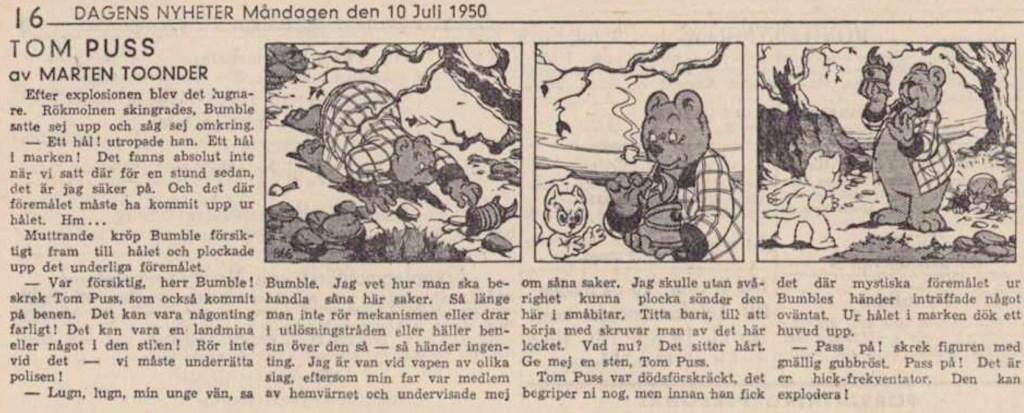 Dagsstripp nr 866, från det 38:e äventyret, där Will Try förekommer för första gången. Strippen var publicerad på svenska i DN 10 juli 1950. ©STA