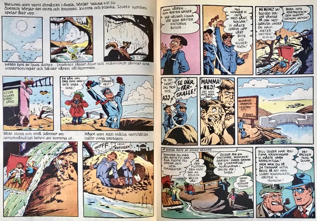 Ett uppslag med episoden Vårexplosionen av The Spirit ur Comics nr 8. ©Editions du Lombard