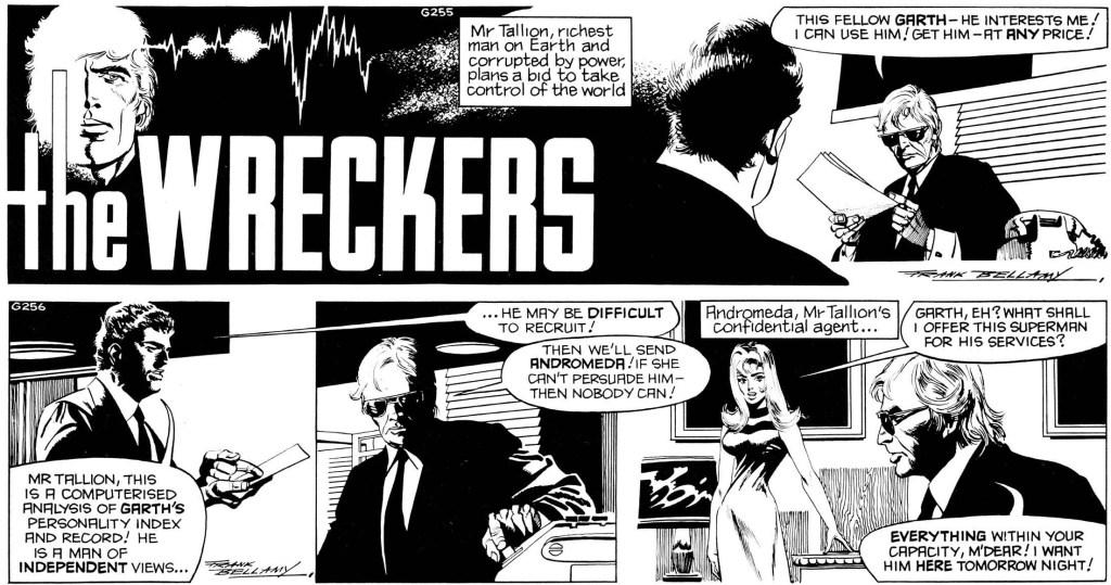 Inledande dagsstrippar ur den 76:e episoden med Garth, The Wreckers, av Jim Edgar (manus) och Frank Bellamy (teckningar), stripparna G255-256 (26-27 oktober 1973). ©Daily Mirror