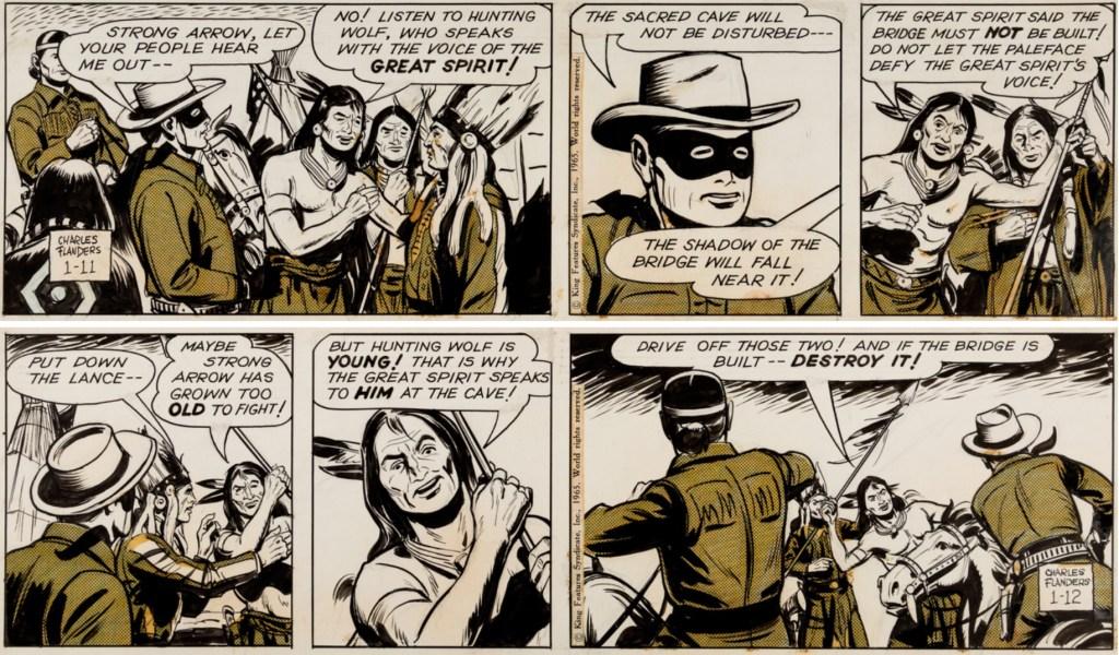 Ett par original av dagsstrippar med Lone Ranger, från 11-12 januari 1965. ©KFS