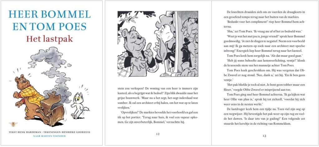 Omslag och ett uppslag ur boken med Heer Bommel en Tom Poes. ©De Bezige Bij