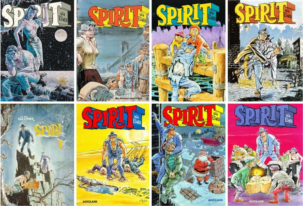 Omslag till åtta seriealbum med Spirit, nr 5-12. ©Alvglans