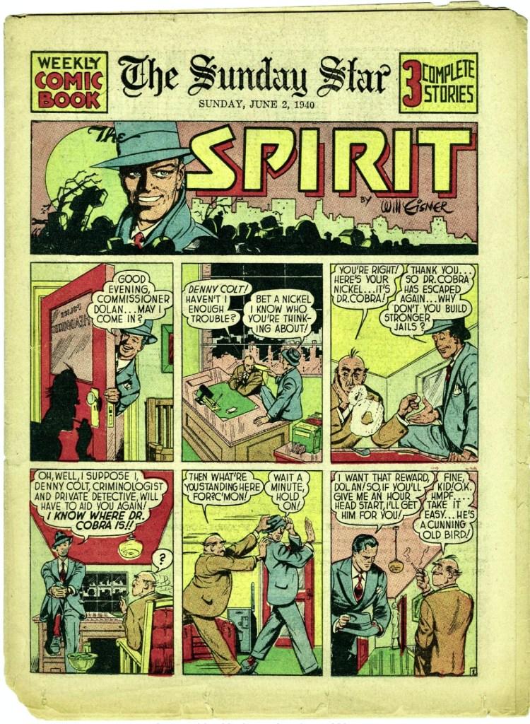 Premiären med The Spirit från seriebilagan 2 juni 1940. ©Register&Tribune