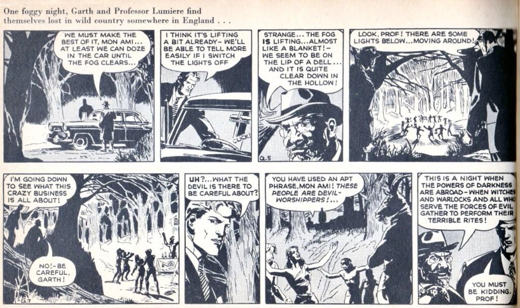 Två dagsstrippar ur inledningen av den den 31:a episoden med Garth, av Peter O'Donnell (manus) och John Allard/Steve Dowling (teckningar), stripparna Q5 och Q7, från 5 och 8 januari 1957. ©Daily Mirror