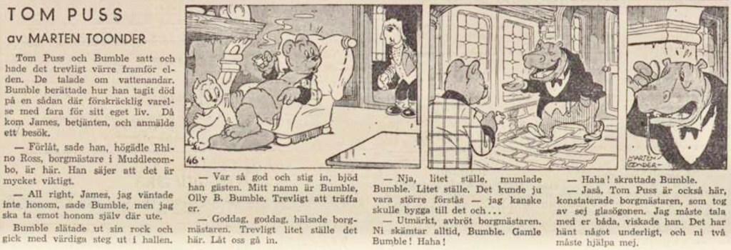Dagsstripp nr 46, från det 25:e äventyret, Vattnets ande (De watergeest), där borgmästare Dickerdack förekommer för första gången. Strippen var publicerad på svenska i DN 17 januari 1948. ©STA