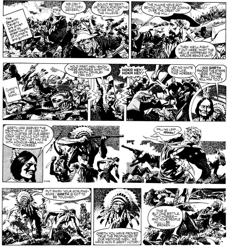 Fyra dagsstrippar ur den 69:e episoden med Garth, Sundance, av Jim Edgar (manus), Frank Bellamy och John Allard (teckningar), stripparna E224-227 (27-30 september 1971). ©Daily Mirror