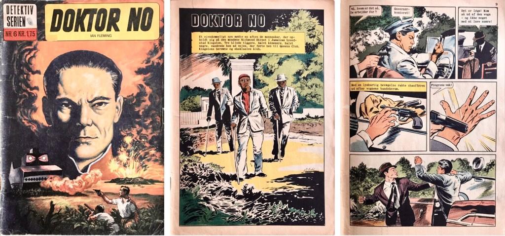 Omslag, förstasida och en sida ur inlagan till danska Detektiv-serien nr 6. ©Illustrerede klassikere