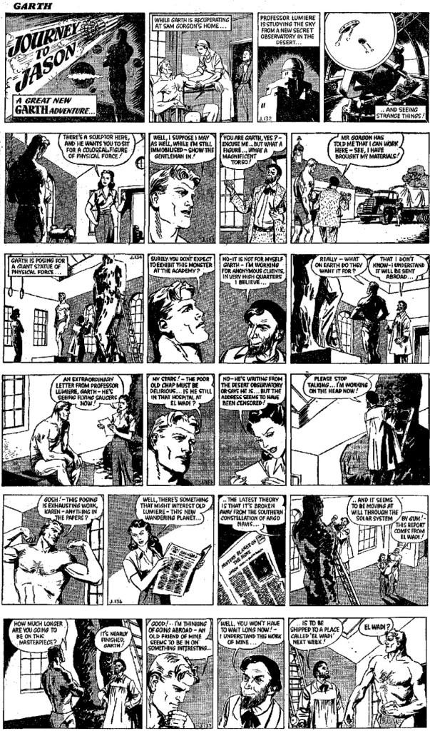 Inledningen av den 16:e episoden, Journey to Jason, från 5-10 juni 1950, av Freeman och Allard/Dowling. ©Daily Mirror