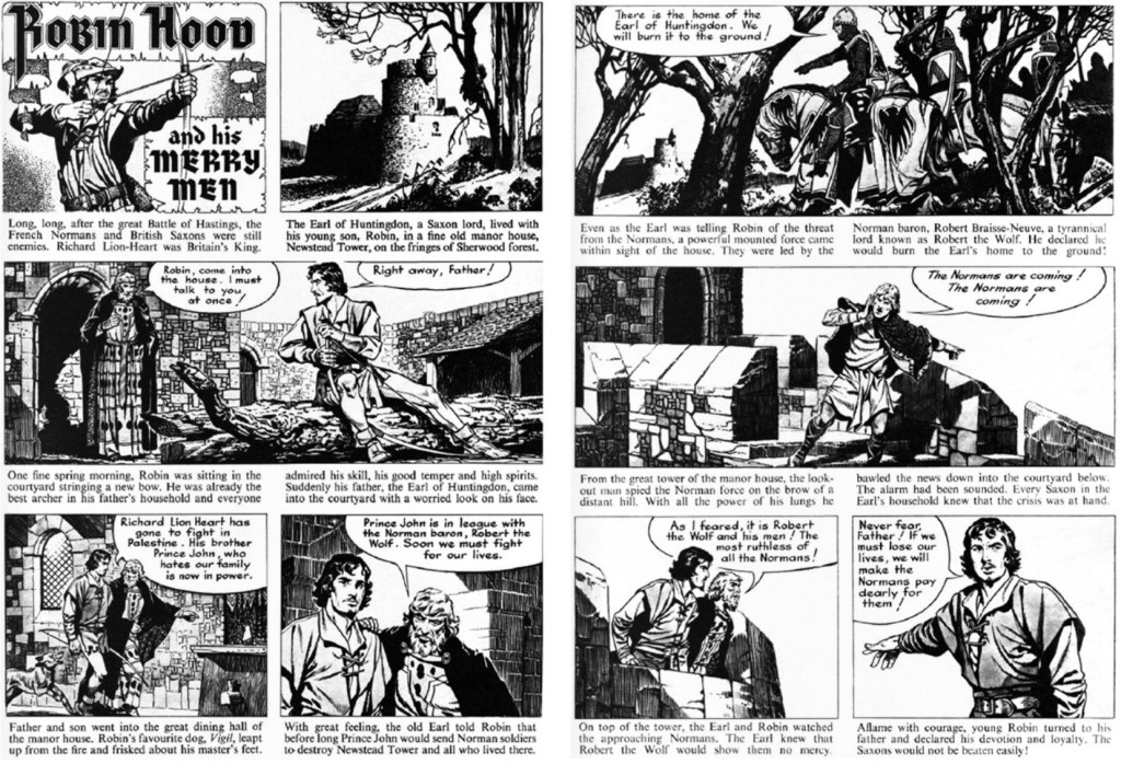 Ett par sidor med Robin Hood av Clifford Makins (manus) och Frank Bellamy (1956). ©Hulton Press