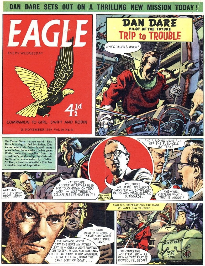 En sida Dan Dare ur Eagle av Frank Bellamy, från 28 november 1959. ©Hulton Press