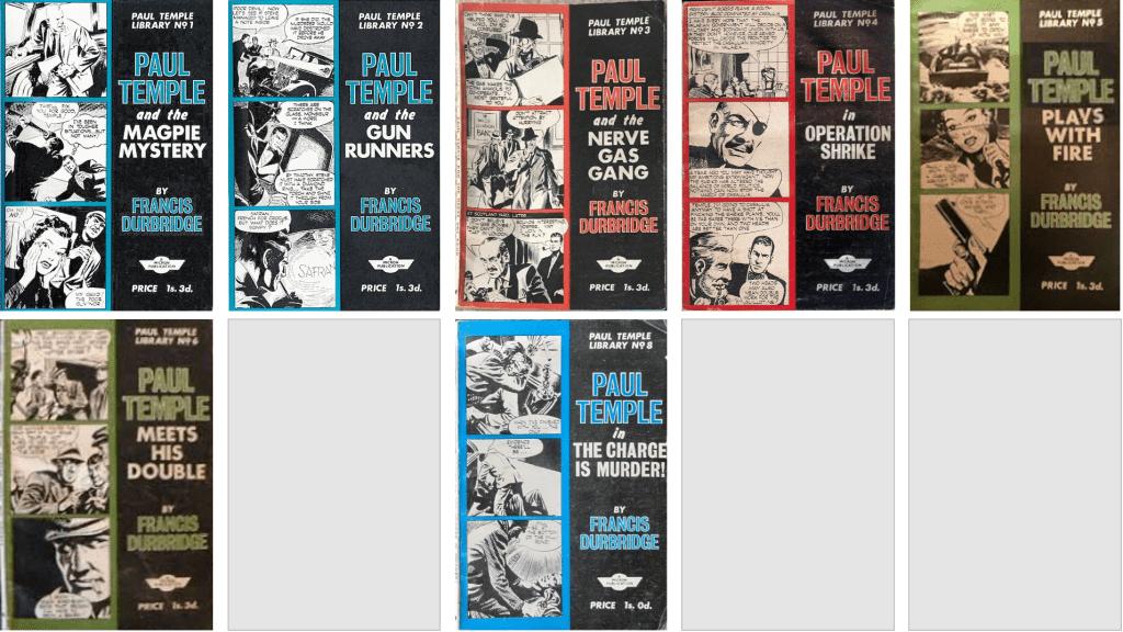 Omslag till samlingsvolymerna Paul Temple Library (1964). ©Micron