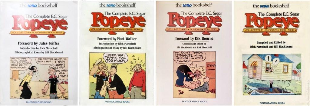 Fyra volymer The Complete Popeye med söndagssidor av E. C. Segar. ©Fantagraphics