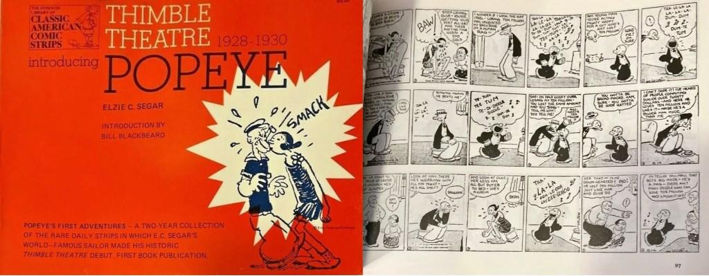 Omslag och en sida ur inlagan ur Thimble Theatre (1977). ©Hyperion