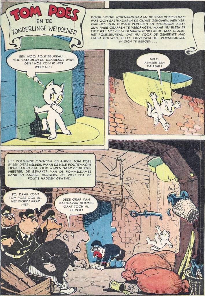 En sida i original ur episoden Tom Poes en de zonderlinge weldoener, från 1958. ©STA